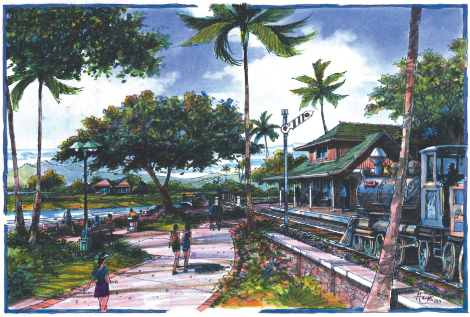 Pearl Harbor Historic Trail concept art - Waipahu depot proposed redevelopment